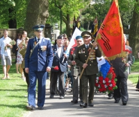 Wreath laying ceremony at the Soviet War Memorial near the Imperial War Museum in London