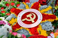 The ceremony of wreaths laying at the Soviet War Memorial to mark the 71st Anniversary of Victory Day